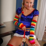 rachel sexton dressed as rainbow bright