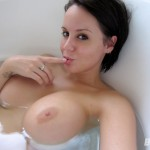 bryci nude bath tub self pic showing her big tits and nipples
