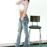 nikki sims sheer white top and jeans