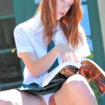 ftv red head lacie showing her pussy up her skirt