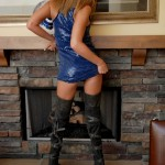 diddylicious shiny blue dress and thigh high boots