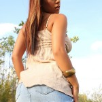 briana lee hot legs in her jean skirt outside