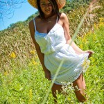 nikki sims beautiful pics in her white dress in a field