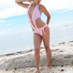 ariel rebel in her pink hearts swim suit