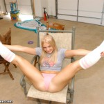 tiffany teen legs spread open in her thong and knee high socks
