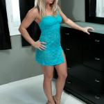 meet madden in her sheer blue lace dress and heels